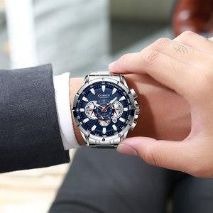 Image 5 - CURREN – Nouvelle montre sport décontracté chronographe pour homme, Bracelet sportif, grand cadran, en acier inoxydable, avec aiguilles lumineuses, collection récente, moderne, disponible en cinq couleurs différentes