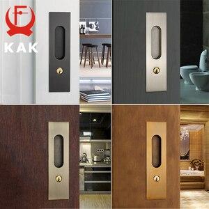 Image 4 - KAK Sliding Door Lock with Keys Hidden Door Handle Interior Door Pulls Lock Anti theft Room Wood Door Lock Furniture Hardware