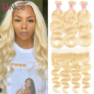 Unice Hair 613 Blonde Bundles With Frontal Brazilian Body Wave With Frontal Remy Human Hair Lace Frontal Closure With Bundle