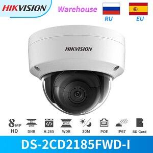 Hikvision câmera ip 8mp ir poe dome câmera DS-2CD2185FWD-I com slot para cartão sd cctv câmera de segurança ao ar livre onvif HIK-CONNECT ip67