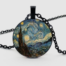 2019, Starry Night Pendant, Necklace, Bronze Van Gogh Best Gift for Friends