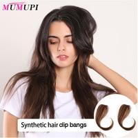 MUMUPI бразильские волосы remy на заколках с челкой, синтетические волосы для наращивания, 25-30 см, средняя часть, заколки на челке, волосы для женщ...