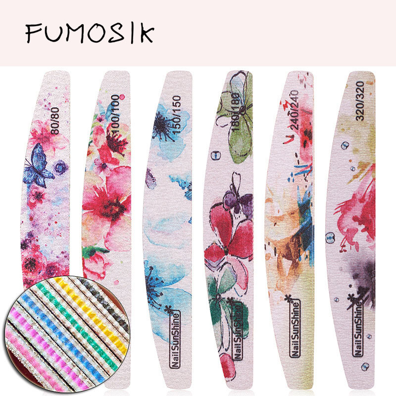 50pcs New Nail File Flower Printed Nail Buffer Block Colorful Lime A Ongle 80/100/150/180/240/320 Manicure Tools Nail Care Tools
