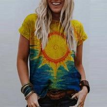 T-shirt a maniche corte a maniche corte con stampa a tinta unita da donna di moda