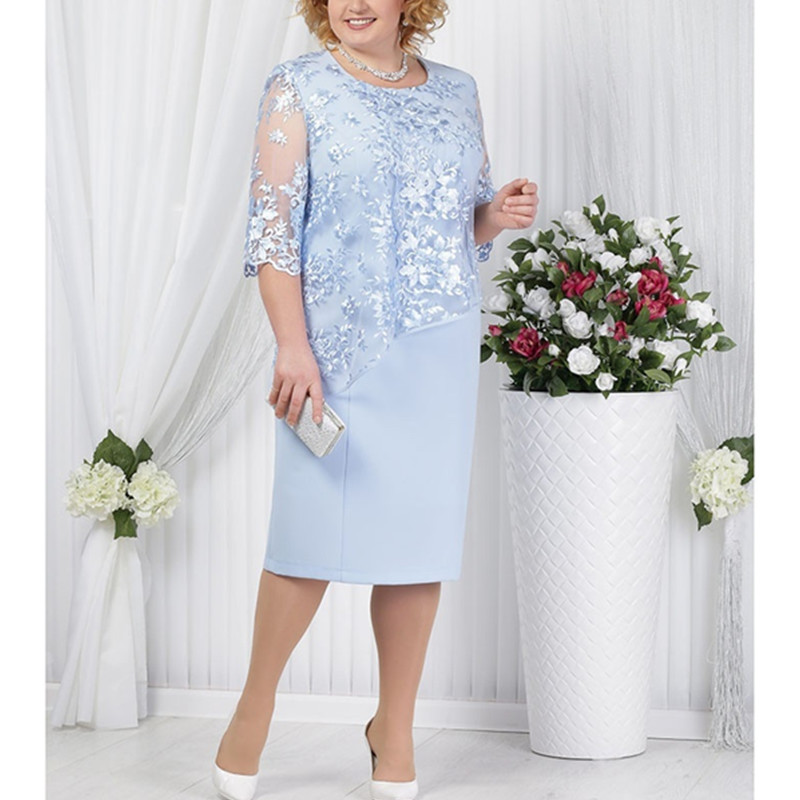 Party-Gowns Evening-Dress Wedding Mother-Of-The-Bride Plus-Size Half-Sleevelace Elegant