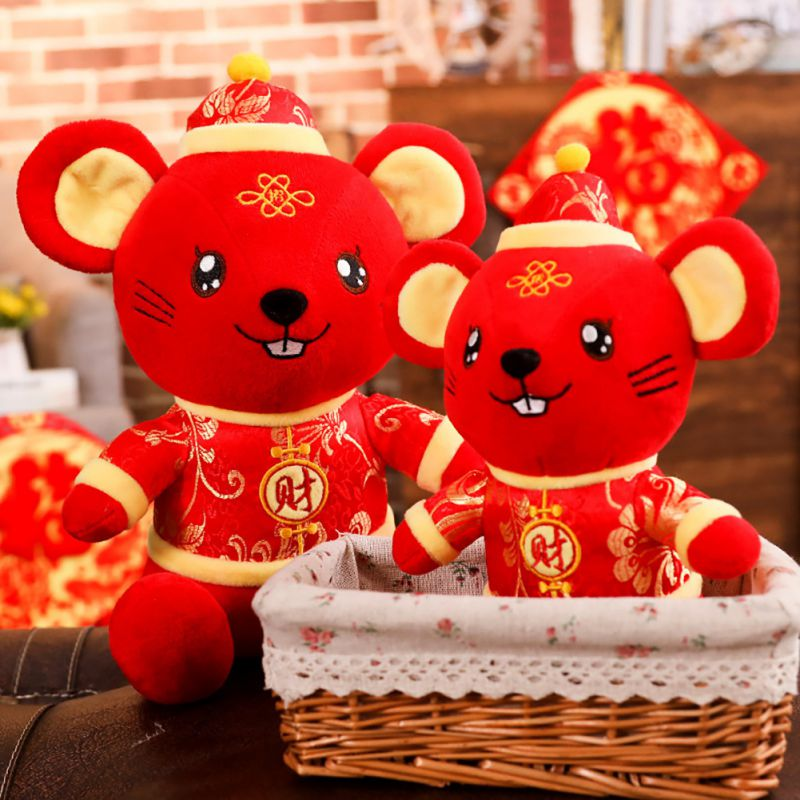 New Rat Year Mascot Doll God Of Wealth, Zodiac Rat Plush Toy 2020 Chinese New Year For Home Pary Office Decor Best Gifts