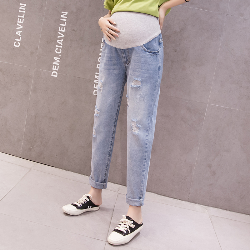 8820 2021 Spring Denim Maternity Jeans Ripped Hole Washed Elastic Waist Pants for Pregnant Women Casual Loose Pregnancy Trousers