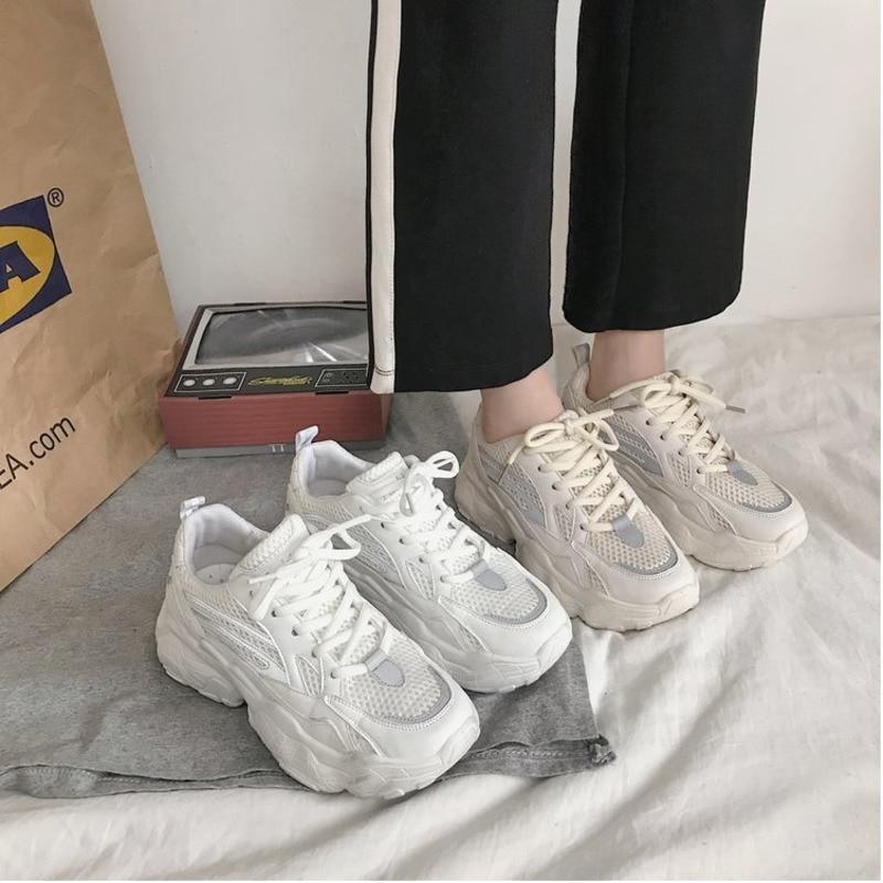 2019 New Platform Chunky Sneakers Women White Shoes Women INS Ulzza Harajuku Trainers Autumn Walking Shoes Woman Baskets Femme