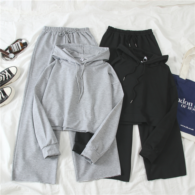 2020 Spring Summer Casual Sports Sets Streetwear Hooded Pullovers+solid High Waist Waide Leg Pants 2 Piece Set Women