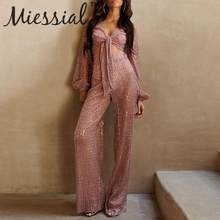 Miessial Lurex sexy wide leg jumpsuit women Bandage romper 3 piece suit jumpsuit Female long bodysuit party club autumn overalls(China)