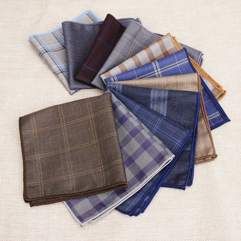 Brand Men's Vintage Plaid Striped Solid Cotton Handkerchief Pocket Square Hankies Luxury Chest Towel Prom Wedding Party Gifts