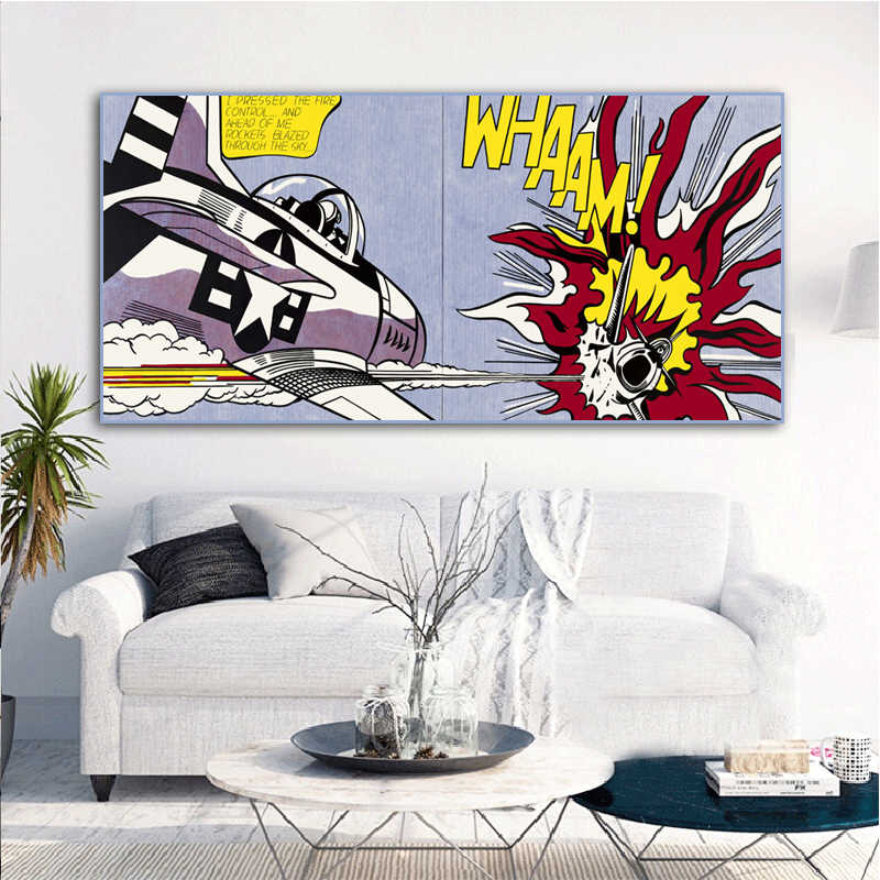 RELIABLI ART Roy Lichtenstein Abstract Posters Pop Art Canvas Painting Wall Art Pictures For Living Room Big Size No Frame