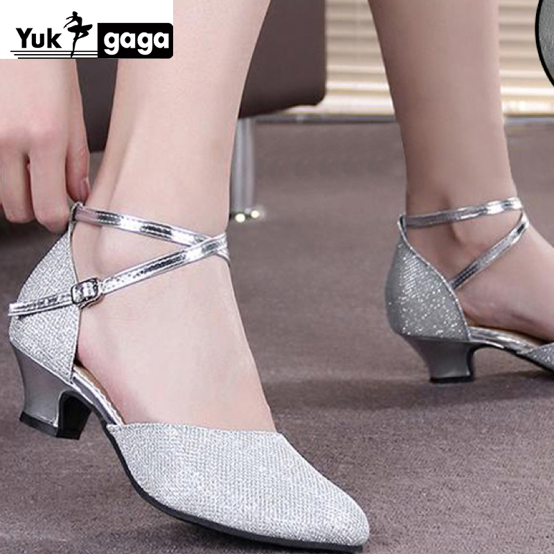 Hot sale Women's Girls Ballroom Latin Tango Dance Shoes heeled 3.5 / 5cm Sales Silver Gold Black Brown color wholesale WZSP22 1