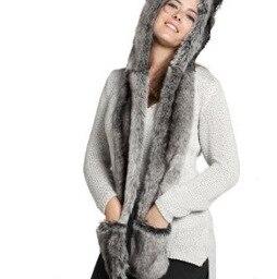 Женский/мужской зимний капюшон из искусственного меха, ушанки для животных, ручные карманы, 3в1, капюшон, шапка, волчий шарф с животными, перчатки, отправка в ближайшее время - Цвет: 12