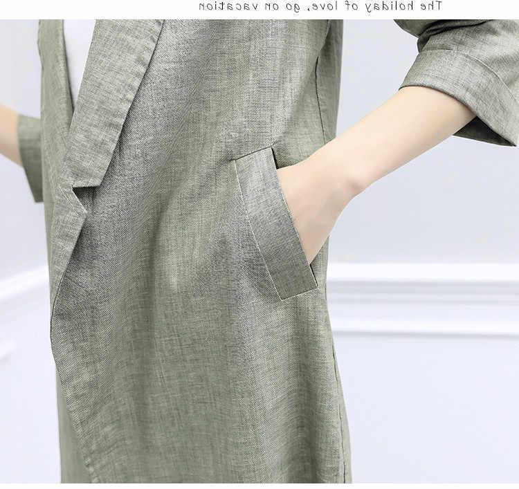 2 sztuka zestaw kobiety Blazer z lnu i bawełny w stylu