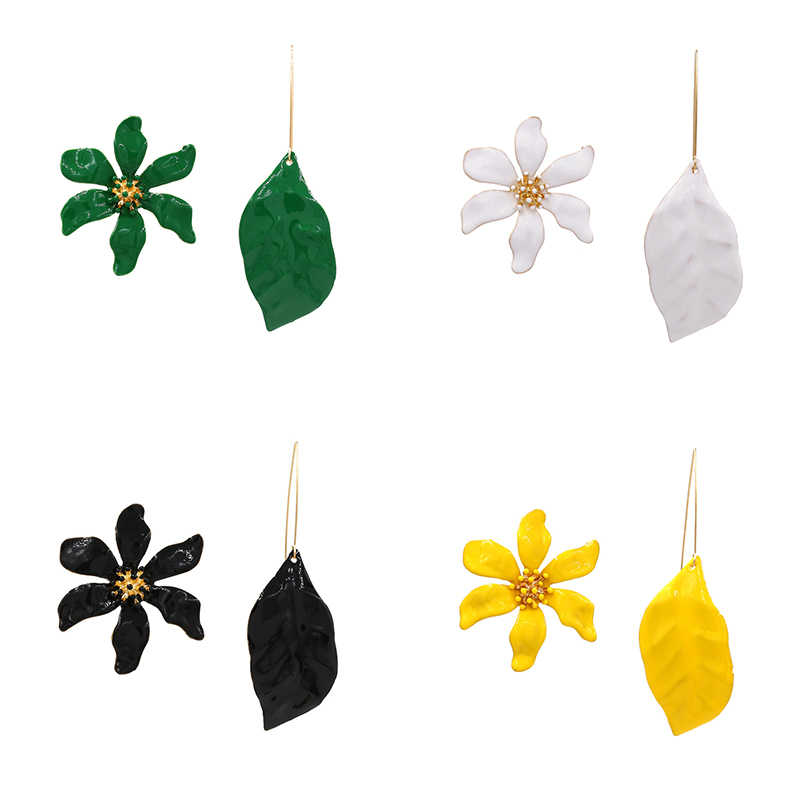 Irregular Design Metal Painted Leaf Long Dangle Earring for Women Trendy Pendientes Big Statement Flower Drop Earring ZA Jewelry