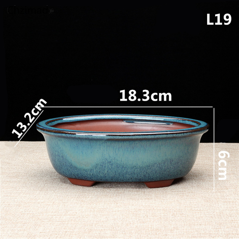 Chzimade Chinese Ceramic Bonsai Flower Pots For Flower Green Plants Glazed Pot Planter Diy Crafts Home Decoration