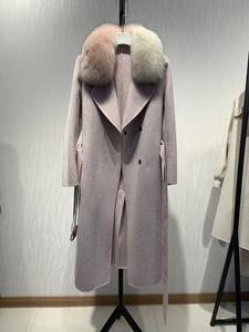 Image 4 - OFTBUY 2020 ใหม่ขนสัตว์จริงขนสุนัขจิ้งจอกธรรมชาติฤดูหนาวแจ็คเก็ตผู้หญิงผสมผ้าขนสัตว์ Slim Outerwear ยาวผู้หญิง streetwear