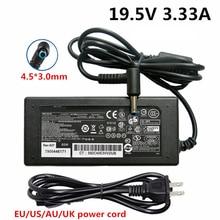 Chargeur dalimentation pour ordinateur portable, 19.5V, 3,33 a cc, 4.5x3.0mm, alimentation électrique pour ordinateur portable HP Pavilion, 15 Envy 17, prise ue US UK AU