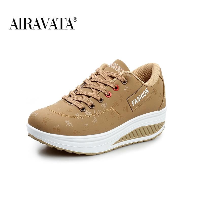 khaki-Women Platform Running Shake Shoes Thick Bottom Wedges Sneakers