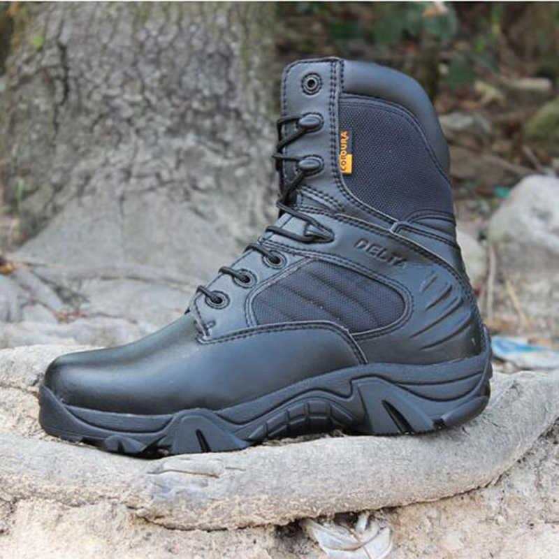 Erkek kış askeri ayakkabı taktik çöl savaş ayak bileği botları ordu iş ayakkabısı artı boyutu 39-47 deri kar botları erkek botları