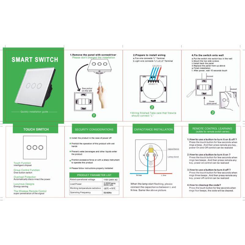 Сенсорный выключатель стандарт ЕС/Великобритании белая Хрустальная стеклянная настенная панель умный WiFi светодиодный светильник - 6