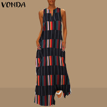 VONDA 2020 Bohemian Women Vintage Patchwork Dress Summer Beach Striped Plaid Long Party Dress Female Casual Vestido Plus Size(China)