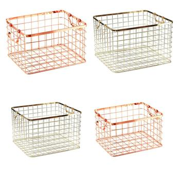 Metal Wire Dirty Clothes Basket Laundry Storage Baskets with 2 Handles-Rose Gold Luxurious Texture Laundry Basket