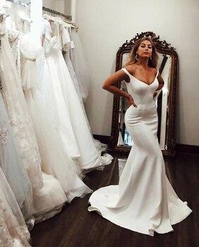 Simple Mermaid Wedding Dress Off The Shoulder Long Bride Soft Satin Custom Made Gowns