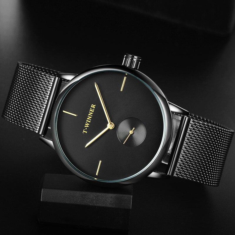 T-WINNER Men Mechanical Watches Winner Top Brand Hand Wind Stainless Steel Leather Strap Forsining Simple Man waterproof Clock slip-on shoe