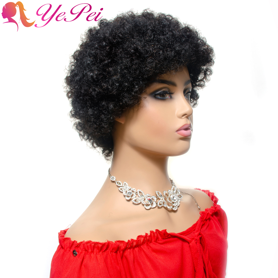 Short Afro Kinky Wig Brazilian Pixie Cut Wigs Remy Hair Real Human Hair Wigs For Women Natural Color Yepei Hair