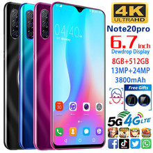 Smartphone Note20 pro cell phones MTK6595 cellphone  5G unlocked smartphone  8GB+512GB phone 13MP+24MP. 6.7
