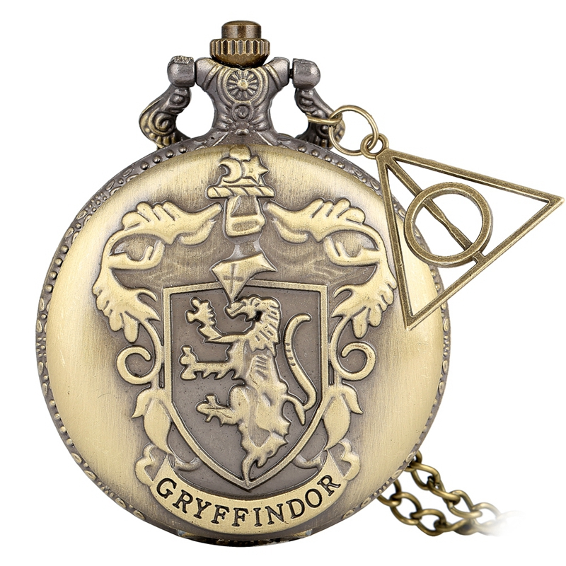 Retro Bronze Gryffindor Quartz Pocket Watch Exquisite Pendant Clock Necklace Chain With Hollow Triangle Accessory Christmas Gift