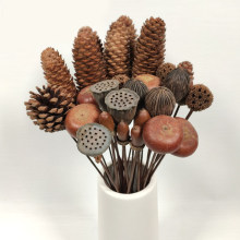 Uds Flores Secas Natural del cono del pino de bellota decorativo hecho a mano Flores Secas para la decoración de la casa Diy fabricación de accesorios