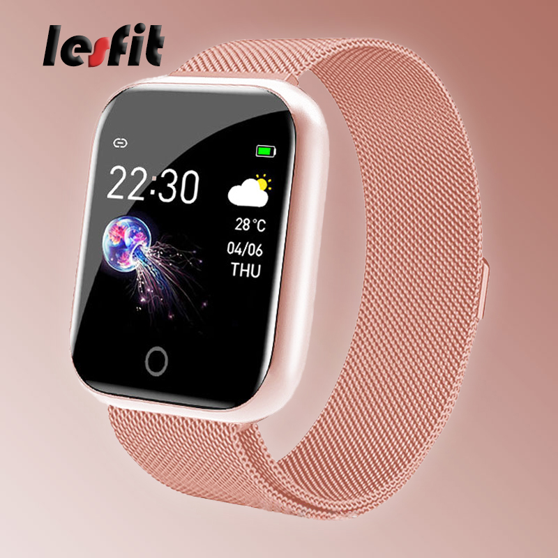 Lesfit Stainless Steel Smart Women Digital Sport Watch For Android Electronics Smartwatches Men Clock Fitness Tracker Wristbands