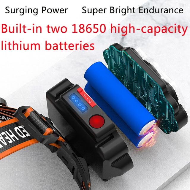 Most Bright 8 LED Headlight USB Rechargeable Headlamp High Lumen Head Lamp Light Waterproof Head Torch 70000Lumens Headlamps 4