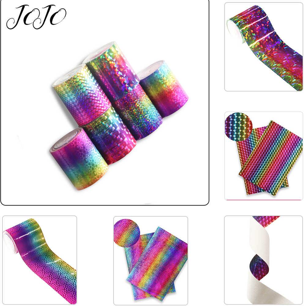 JOJO Busur 75 Mm 2Y Laser Pita untuk Menjahit Rainbow Cermin Tape untuk Kerajinan DIY Rambut Busur Dekorasi Rumah Pakaian jahit Bahan