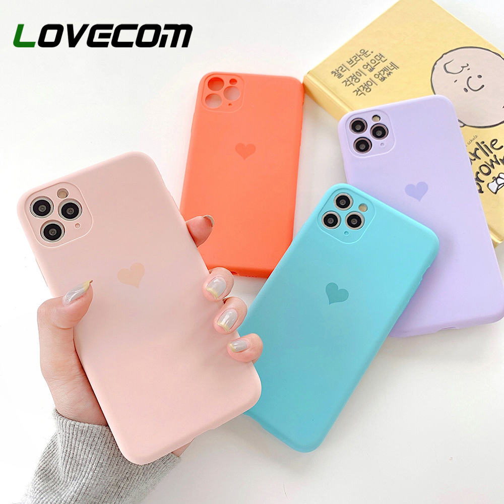 LOVECOM Camera Protection Phone Case For IPhone 11 Pro Max XR XS Max 7 8 Plus X Soft Silicon Cute Heart Phone Back Cover Coque