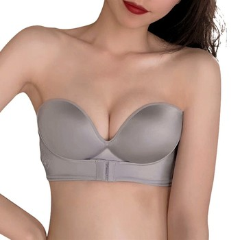 Women's Strapless Sexy Bra Front Buckle Push Up Sexy Lingerie Backless Brassiere Seamless Bralette For Wedding Dress