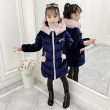 Fashion Winter Jacket for Girls Fur Hoodies Warm Coat Childrens Cotton-padded Hooded Outerwear Clothes With Dragonfly Brooch