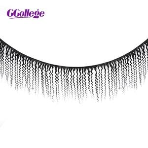 Image 2 - CCOLLEGE קינקי מתולתל שיער טבעי חבילות עם סגירת 3 חתיכות ברזילאי לארוג שיער ללא רמי הארכת שיער 4*4 תחרה סגירה