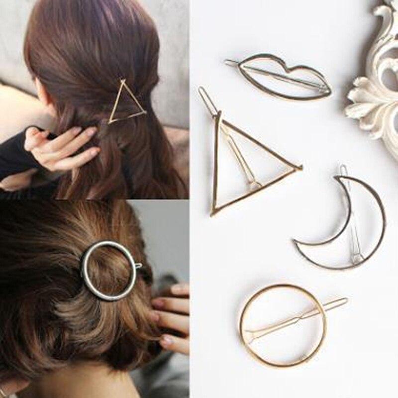 HOT Triangle Hair Clip Pin Metal Geometric Alloy Hairband Moon Circle Hairgrip Barrette Girls Holder Hair Accessories For Women
