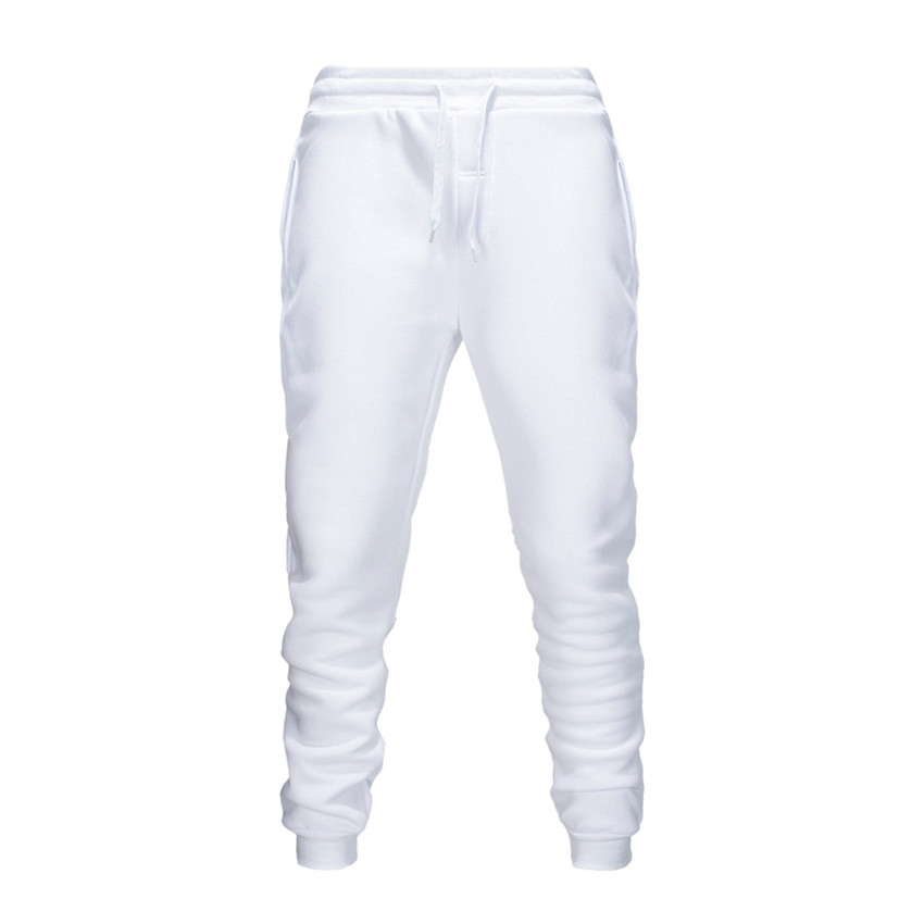White Men Pants  Fashions Joggers Pants Male Casual Sweatpants Bodybuilding Fitness Track Pants Men Sweat Trouser