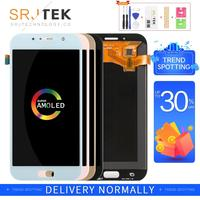 AMOLED For SAMSUNG A7 2017 LCD A720 Display Touch Digitizer Sensor Glass Assembly With Frame For SAMSUNG GALAXY A720F Display