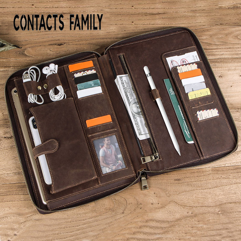 Tablet Sleeve Pouch Bag Zipper Briefcase For IPad 10.5 Inch Genuine Leather Case Cover For IPad With Card Pocket Notebook Pocket