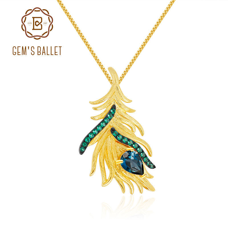 GEM'S BALLET 925 Sterling Silver Natural London Blue Topaz Fine Jewelry Feather Gypsy Bohemia Pendant Necklace For Women