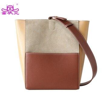 2020 Fashion Female Composite Bags Bucket Bags Split Leather Shoulder Bags For Women Top Grade Ladies Messenger Bag