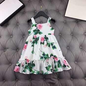 European and American parent-child outfit 2020 spring and summer new styles  Fashionable rose print  Condole belt  Girl's dress