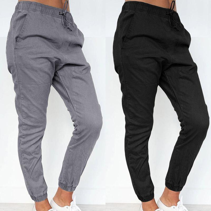 Zanzea Pantalones Largos Para Mujer Moda 2020 Pantalones Harem Con Bolsillos Lisos Informales Para Mujer Pantalones Largos Para Mujer Ropa De Calle 7 Pantalones Y Pantalones Capri Aliexpress