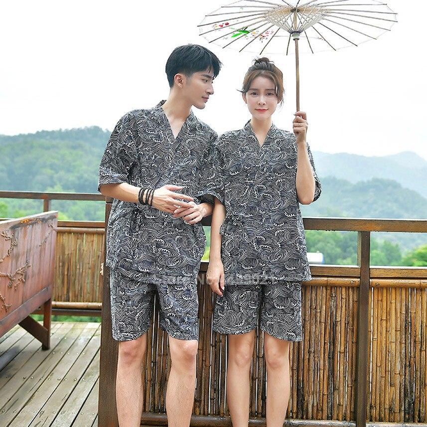 Wave Print Cotton Japanese Kimono Jinbei Pajamas Set For Men Women Couple's Clothing V-neck Bath Yukata Sleepwear Pyjamas